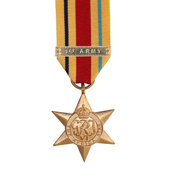 WW2 Africa Star Medal with 1st Army Clasp