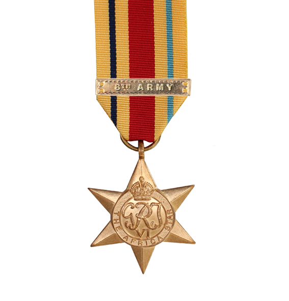 WW2 Africa Star Medal with 8th Army Clasp