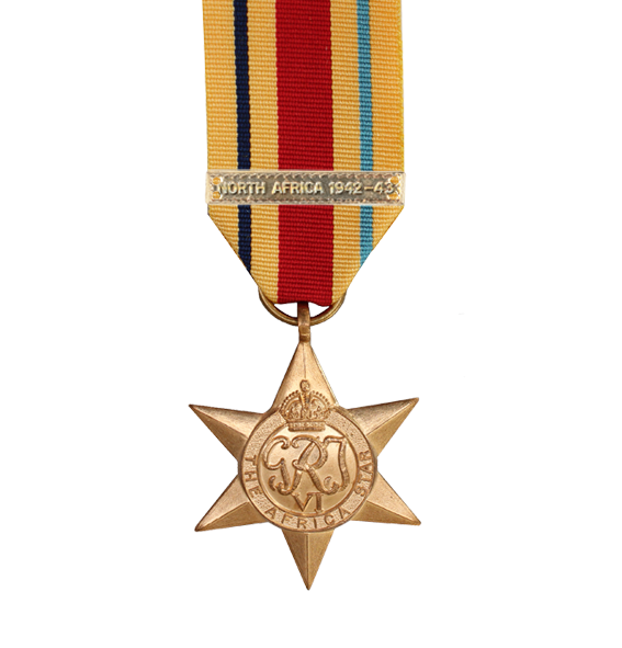 WW2 Africa Star Medal with North Africa Clasp