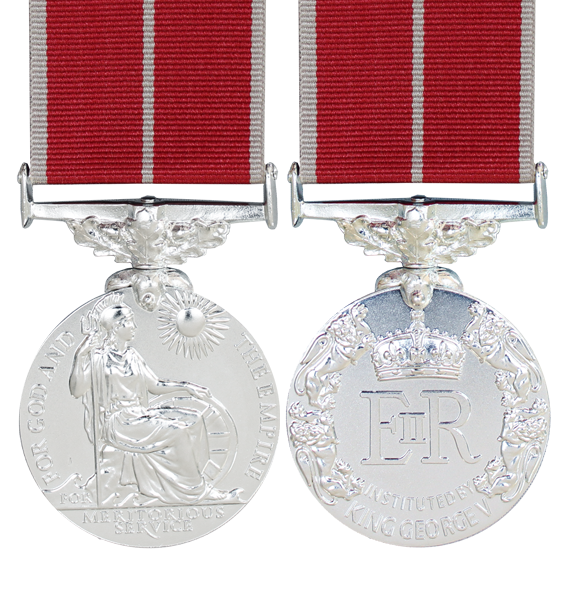 Military British Empire Medal Full Size and ribbon