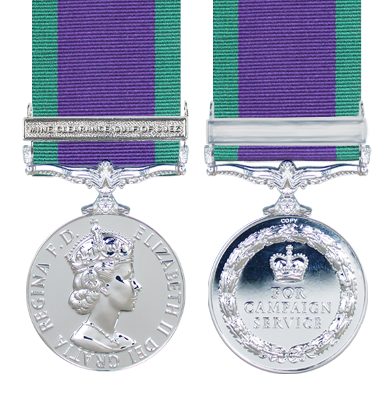 General Service Medal 1962 with Mine Clearance, Gulf of Suez Clasp