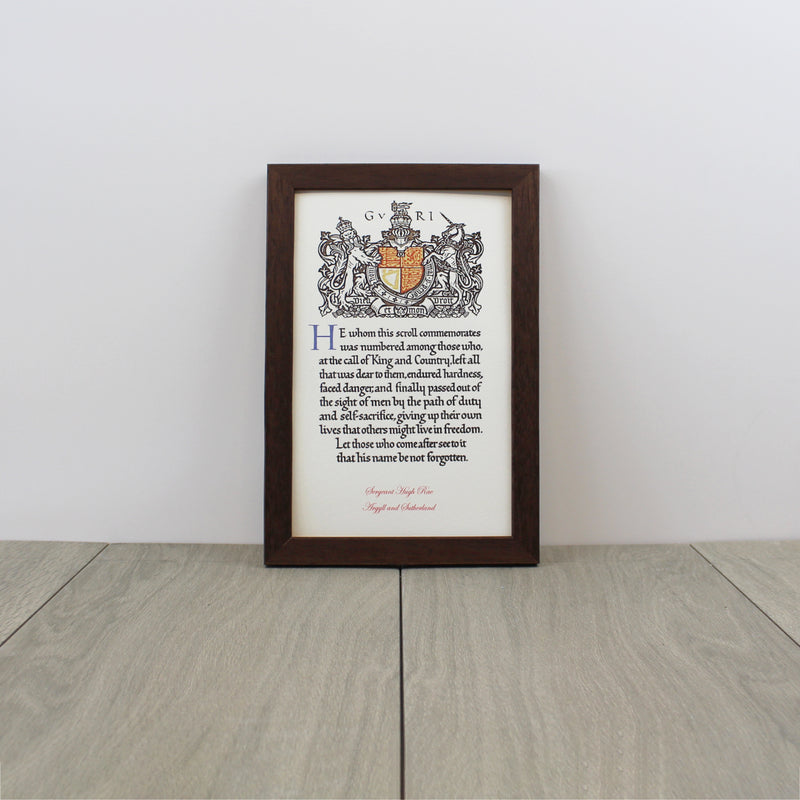 World War 1 Memorial Scroll Framed
