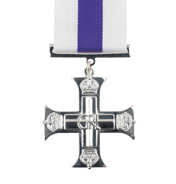 The GVI Military Cross medal with full size ribbon