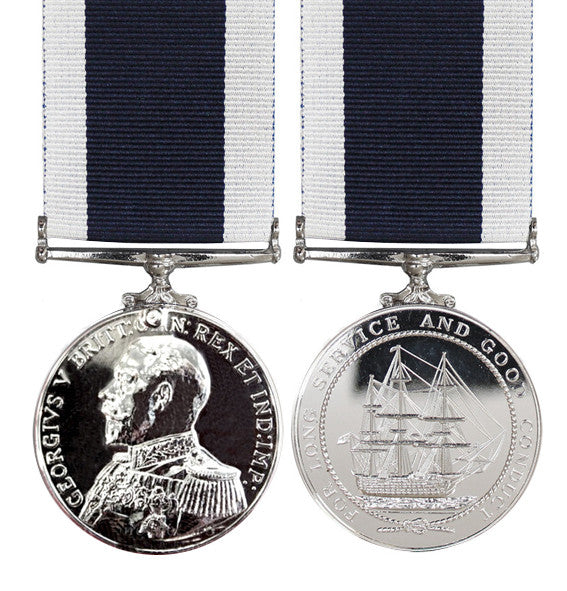 Royal Navy Long Service full size Medal GV Admirals Uniform