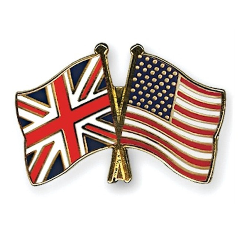 UK and USA Crossed Flags Lapel Pin