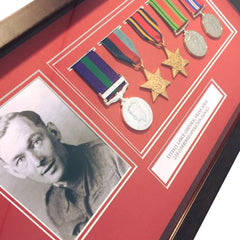 Dark Wood & RED Medal Frame for Medals and a Photograph