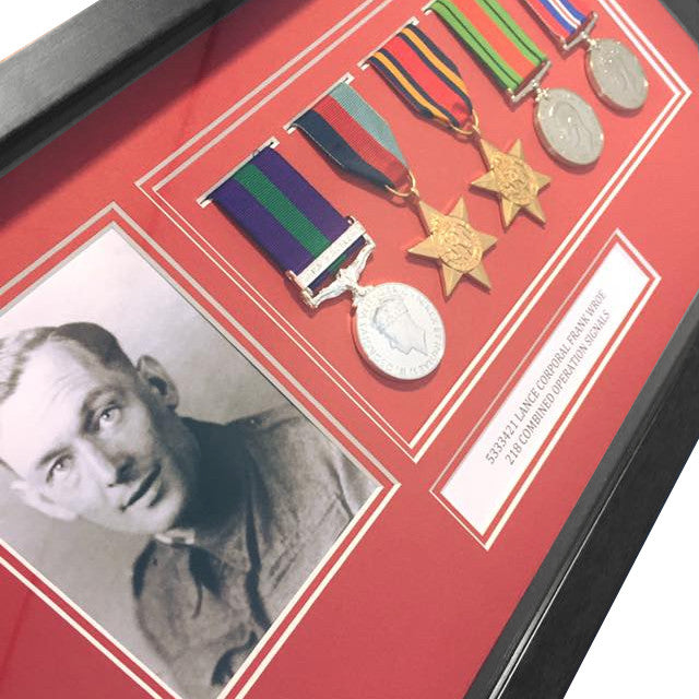 Black Medal Frame for Medals and a Photograph