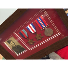 Dark Wood Medal Frame for Medals and a Photograph