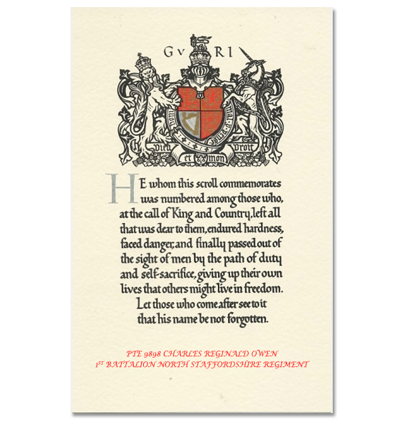 The Word war one Memorial Paper Scroll