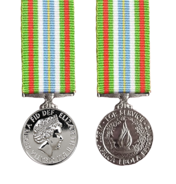 Miniature Ebola Medal and ribbon