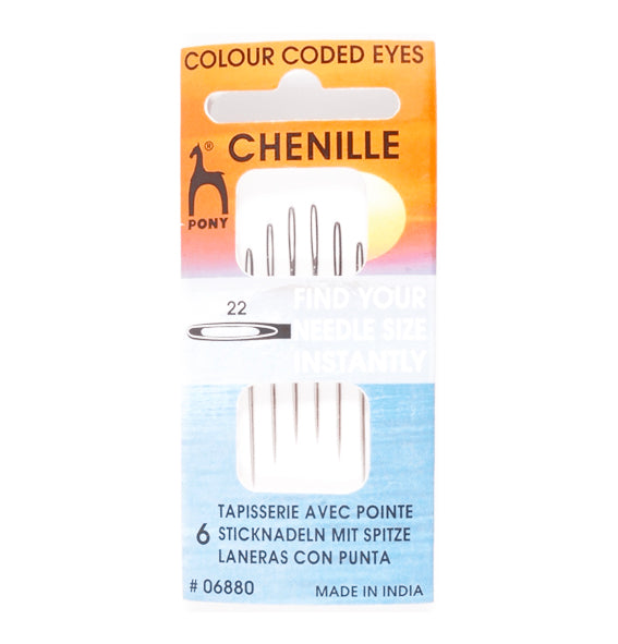 Pony Gold Eye Hand Sewing Needles - Size 22 (pack of 6)