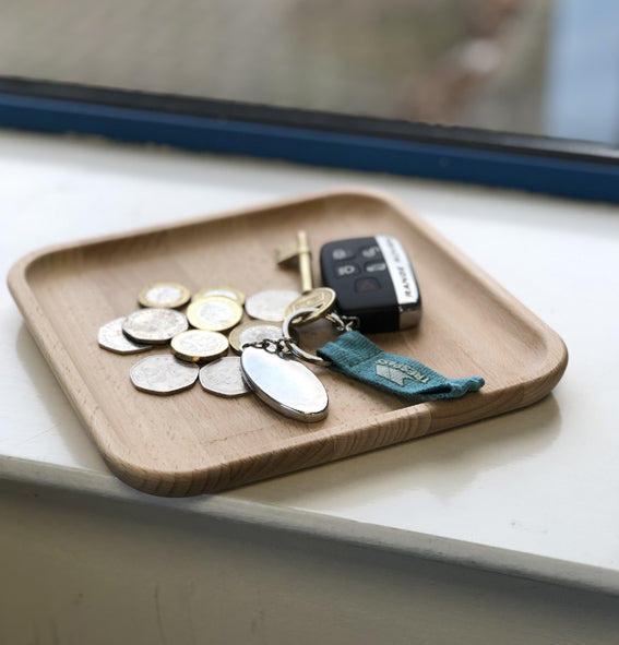Solid Wooden Square Tray - Coin, Key, Watch, Ring Tidy Tray