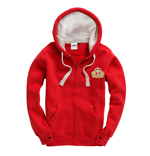 Red Embroidered Military Crest Super Hoodie