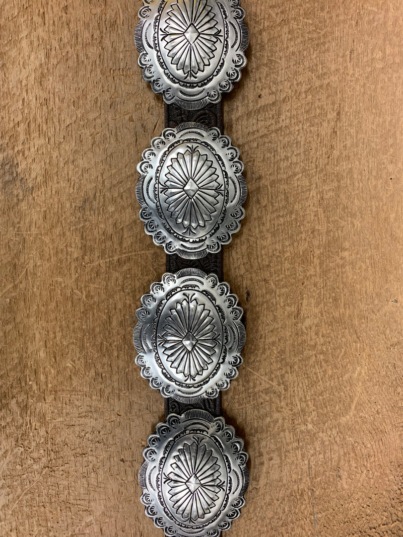 Oval Engraved Silver Conchos G219