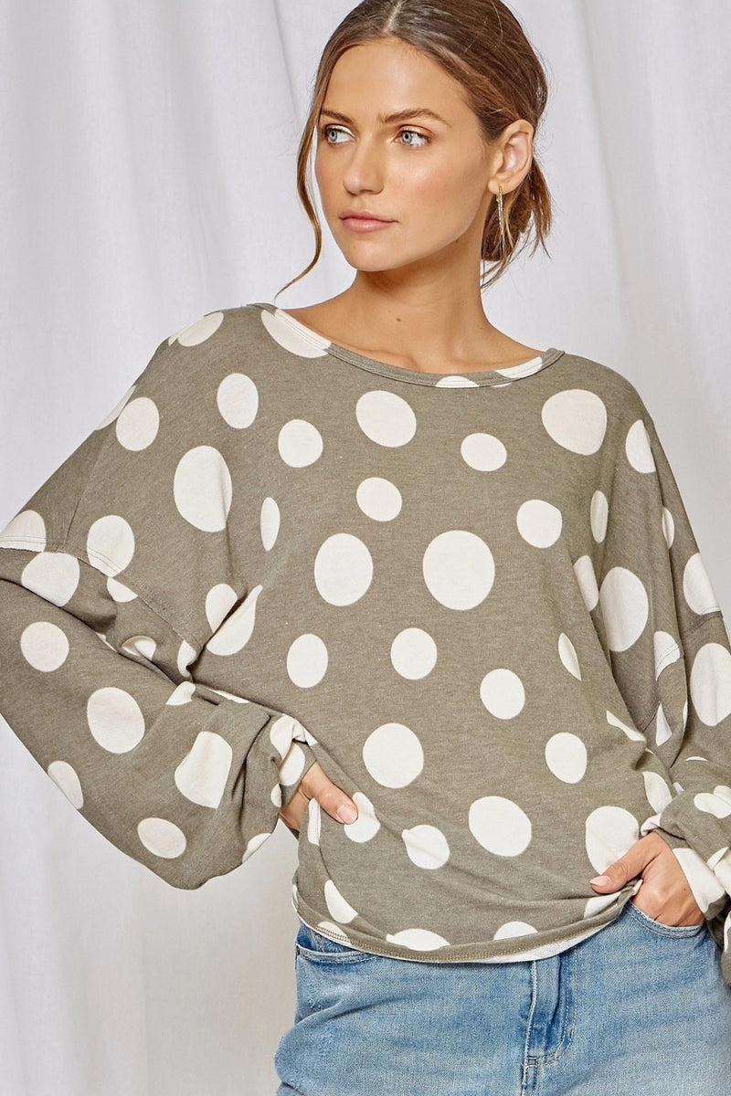 The Mary Beth Sage Polka Dot Long Sleeve Top