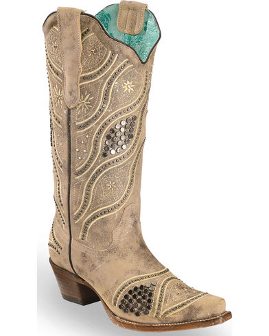 E1275 Corral LD BROWN EMBRODERY & STUDS Snip Toe Ladies Boots