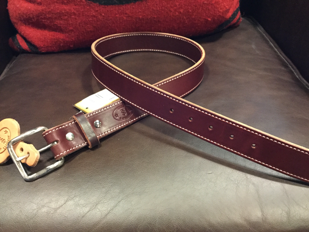Texas Saddlery Casual/Burgundy Latigo Men's Belt
