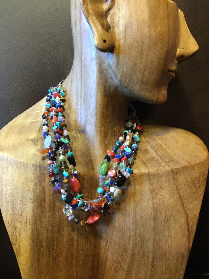 Paige Wallace Necklace Multi Colored Layered Beaded