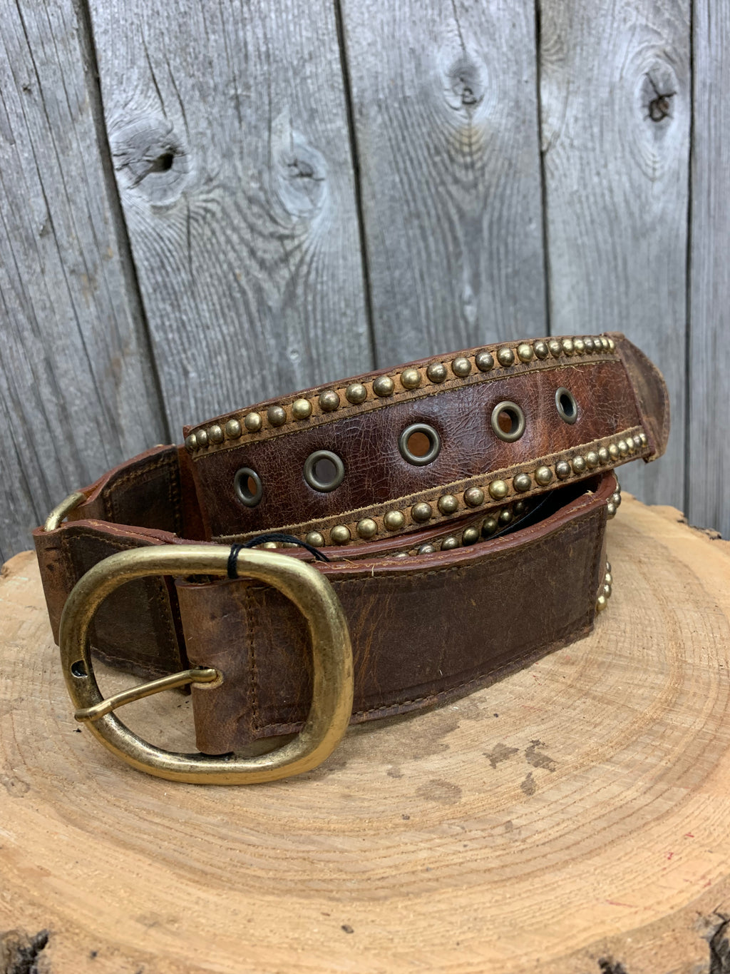 1948 LR Brown Leather Belt with Studs and Cognac Panel