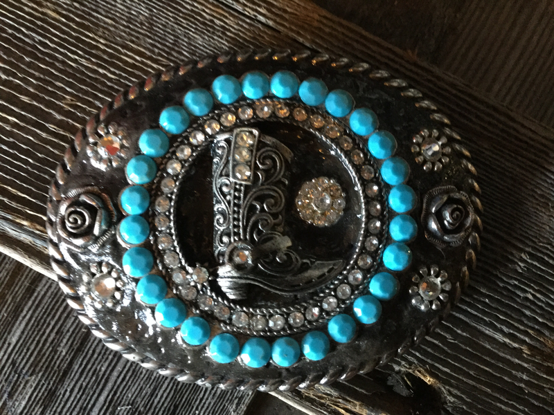 Silver Boot With Turquoise Ladies Buckle