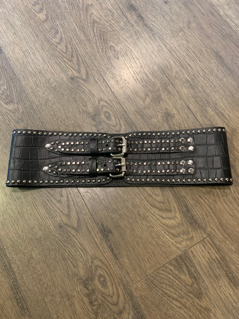 3101ST Juan Antonio Black Croc Waist Belt with Studs