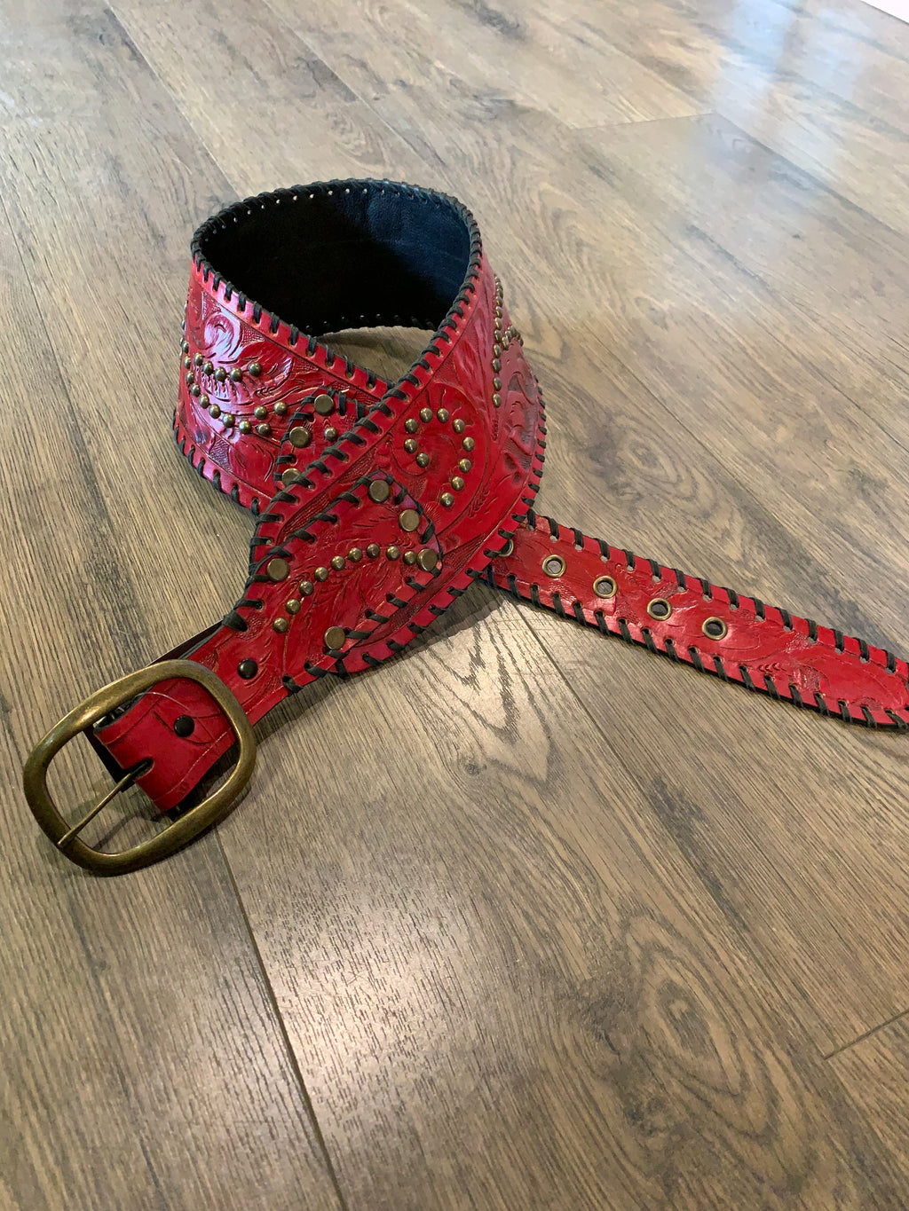1003 Juan Antonio Red Whipstich and Studded Belt