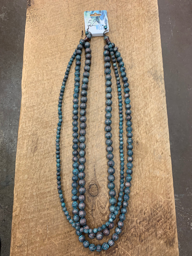Long 3 Strand Patina Necklace