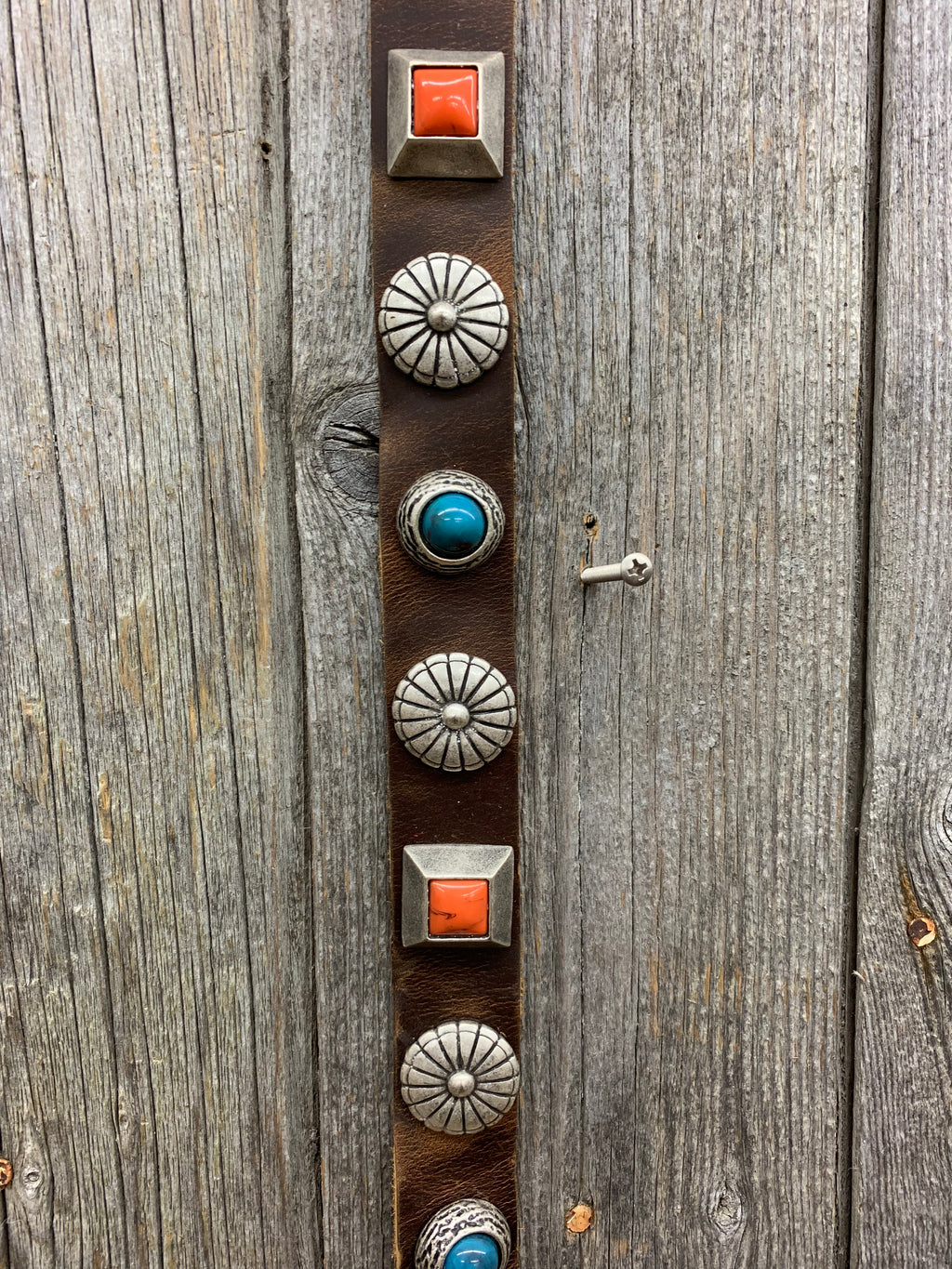 2233 LR Turquoise, Orange, and Sunburst Concho Belt