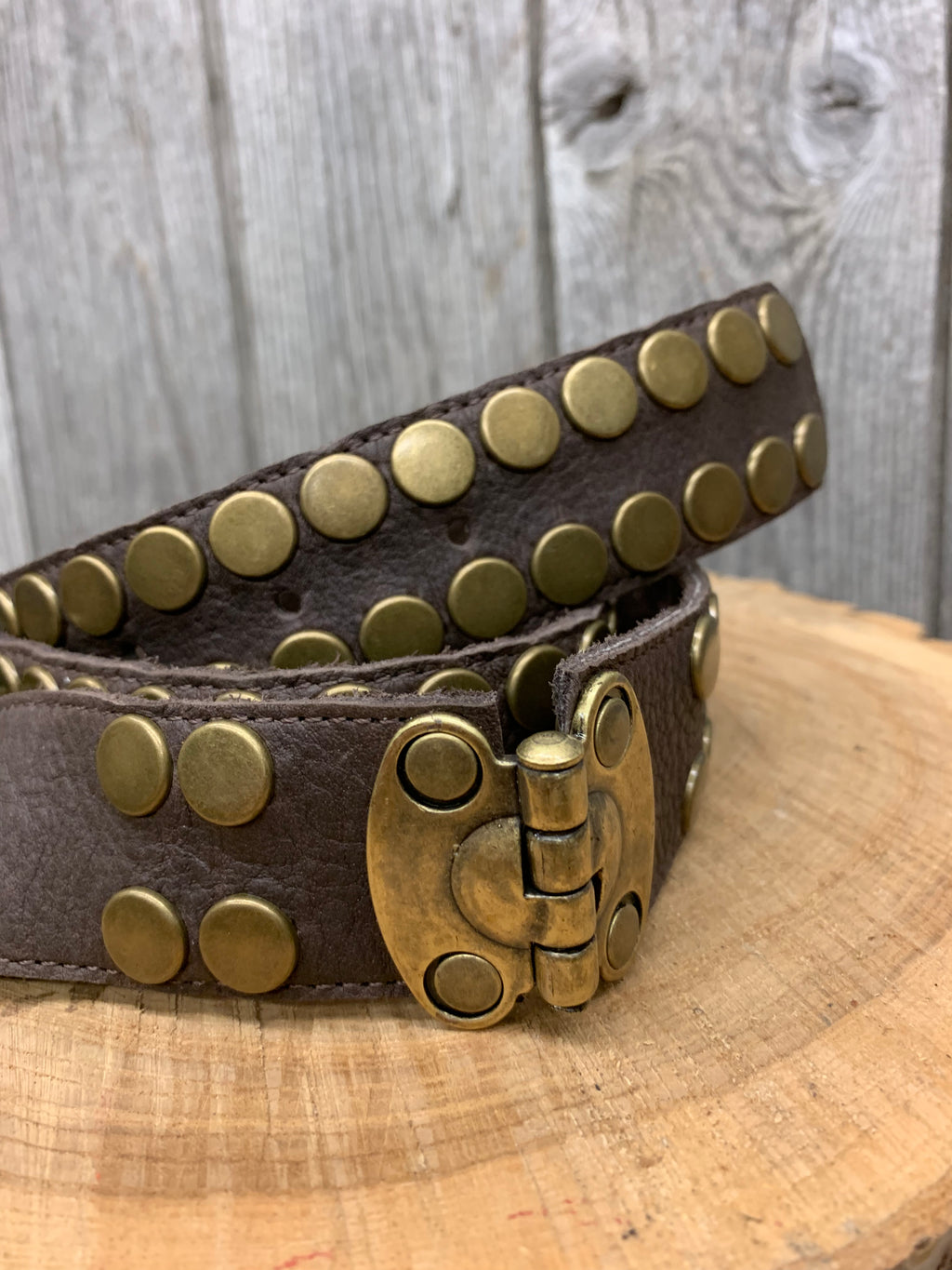 7393 Brass Studs with Hinge Detail Brown Leather Belt