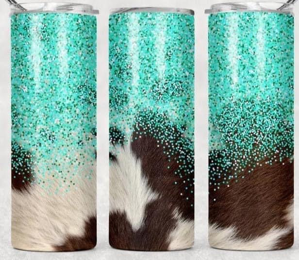 Pre-Order Turquoise Cowhide Tumbler (ships 02/03/2021)