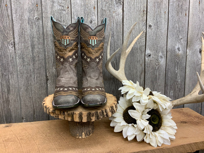 A3740 Camo Sand Overlay with Embroidery and Studs Ladies Boots by Corral