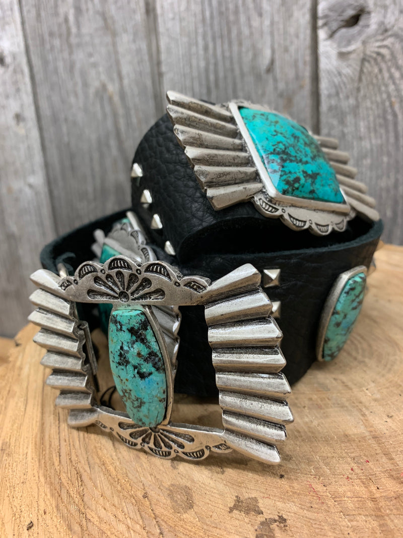 2212 LR Turquoise Conchos on Black Leather Belt