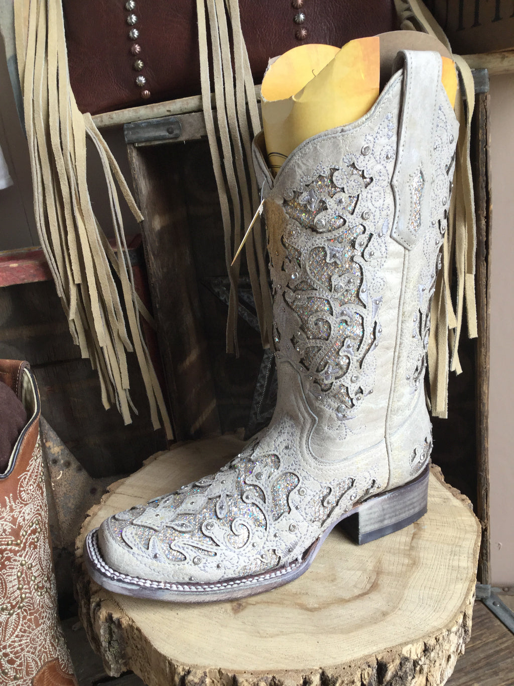 Corral A3397 White Glitter Inlay & Crystal Sq. Toe Ladies Boots