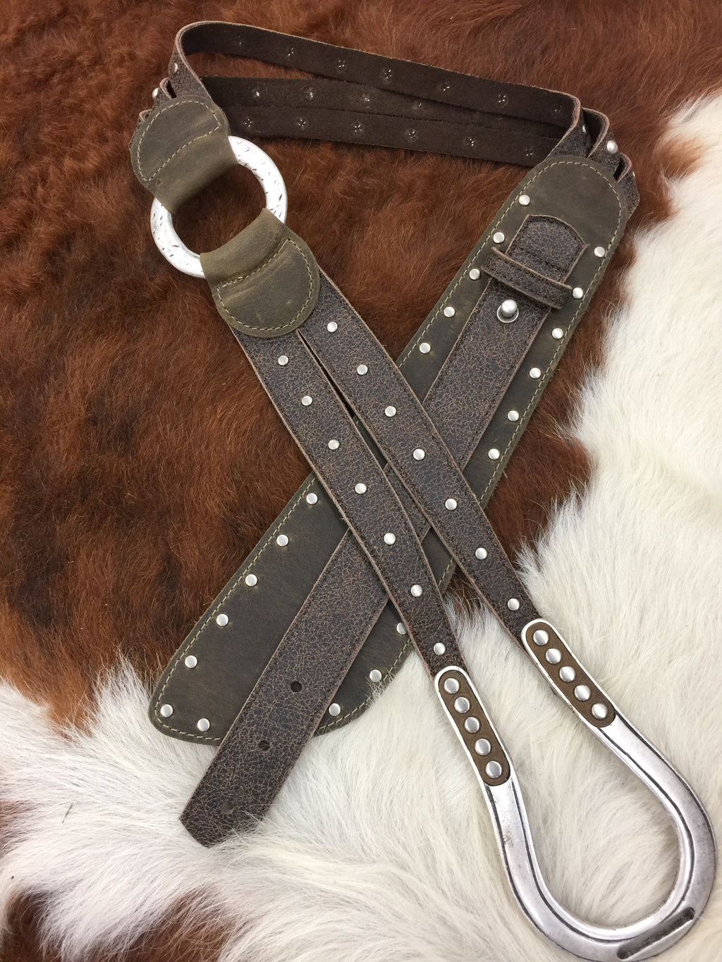 1669 Brown Leather with Studs Ladies Belt