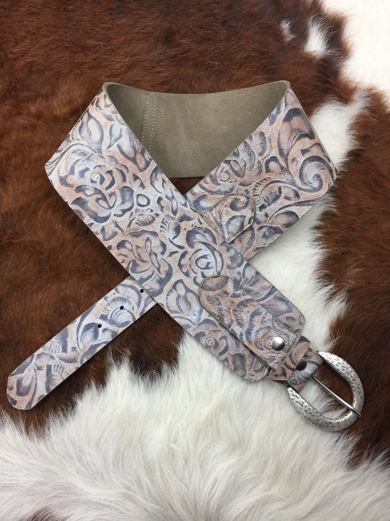 2030 Floral Print Wide Leather Ladies Belt