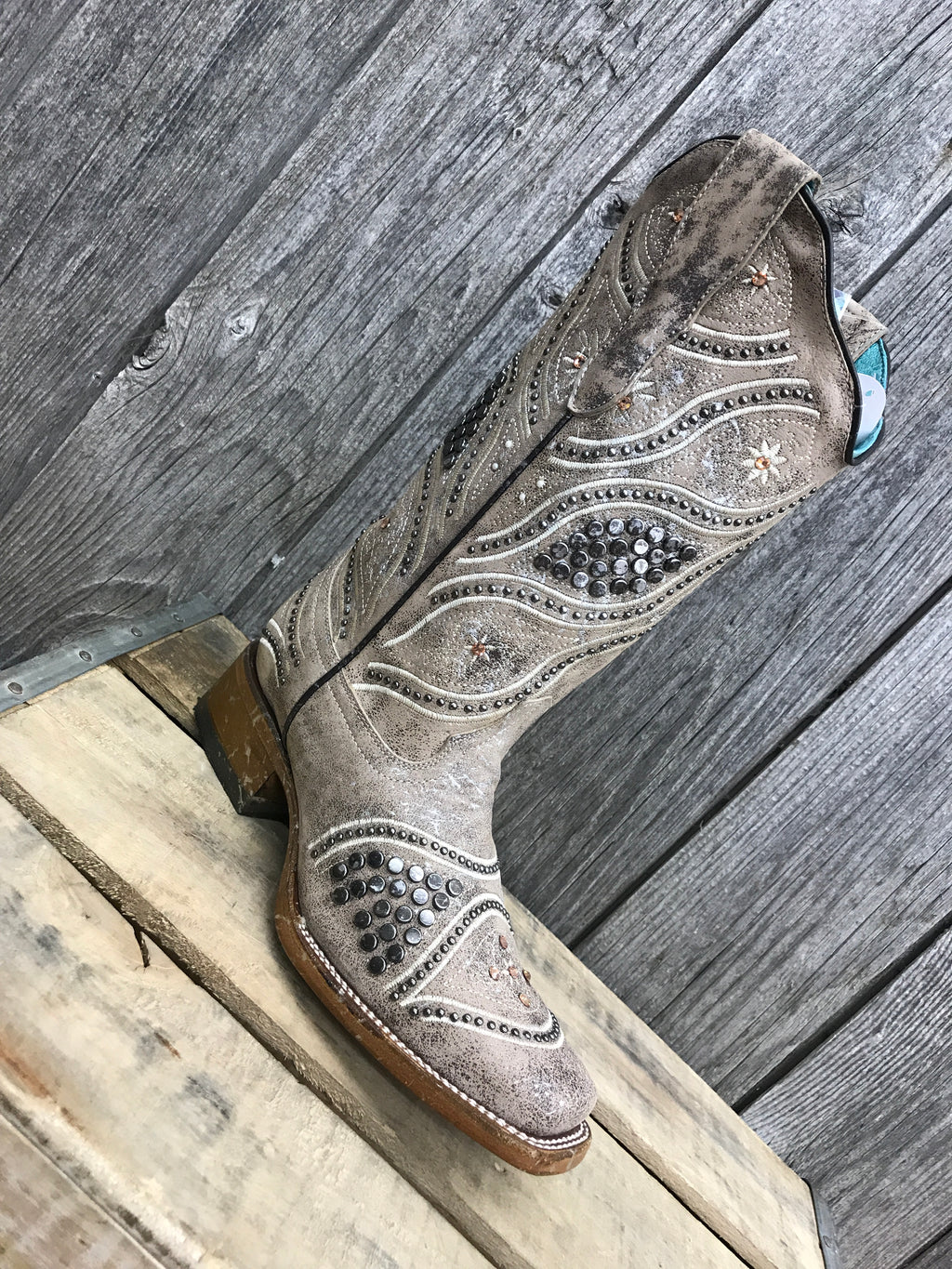 E1389 Corral Taupe with Studs, Embroidery, and Crystals Ladies Boots