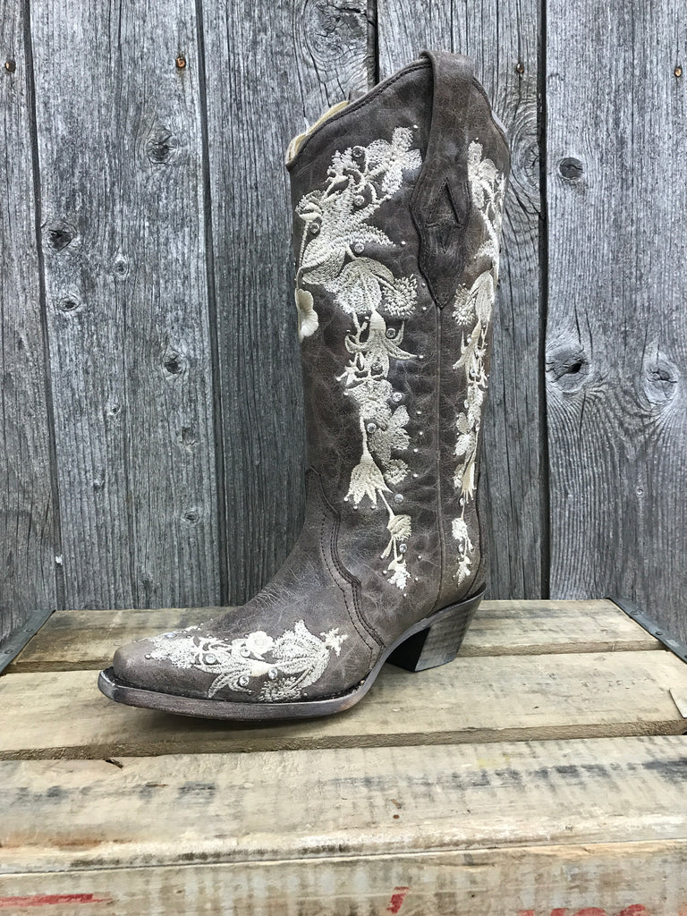 A3572 Corral Tobacco Studs and Flower Embroidery Ladies Boots