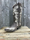 A3572 Corral Tobacco with Studs and Flower Embroidery Ladies Boots