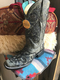 A3676 Corral Women's Western Overlay Studs Grey Black Boot
