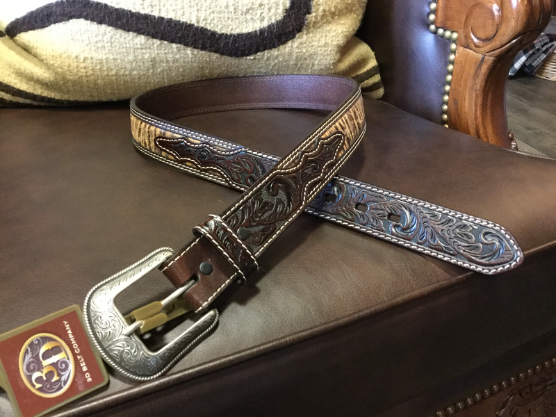 3D Belt Co. Men's Leather Stamped Tooled Belt