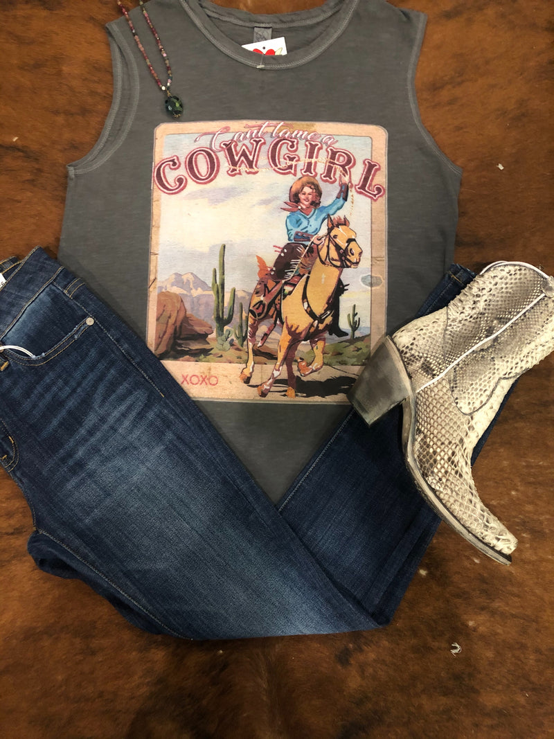 The Mattea Can't Tame a Cowgirl Muscle Tee