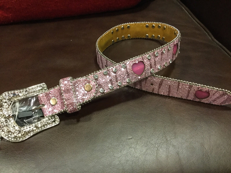 Angel Ranch Leather Girls Belt Pink Zebra Glitter Rhinestones Flashing Hearts