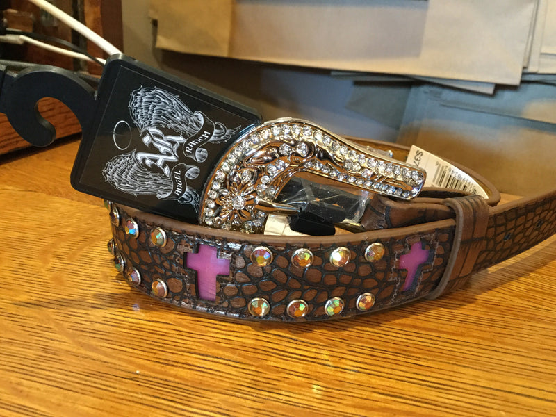 "Angel Ranch 1 1/4"" Lite Up Brown Gator With Cross Girls Belt A5124"