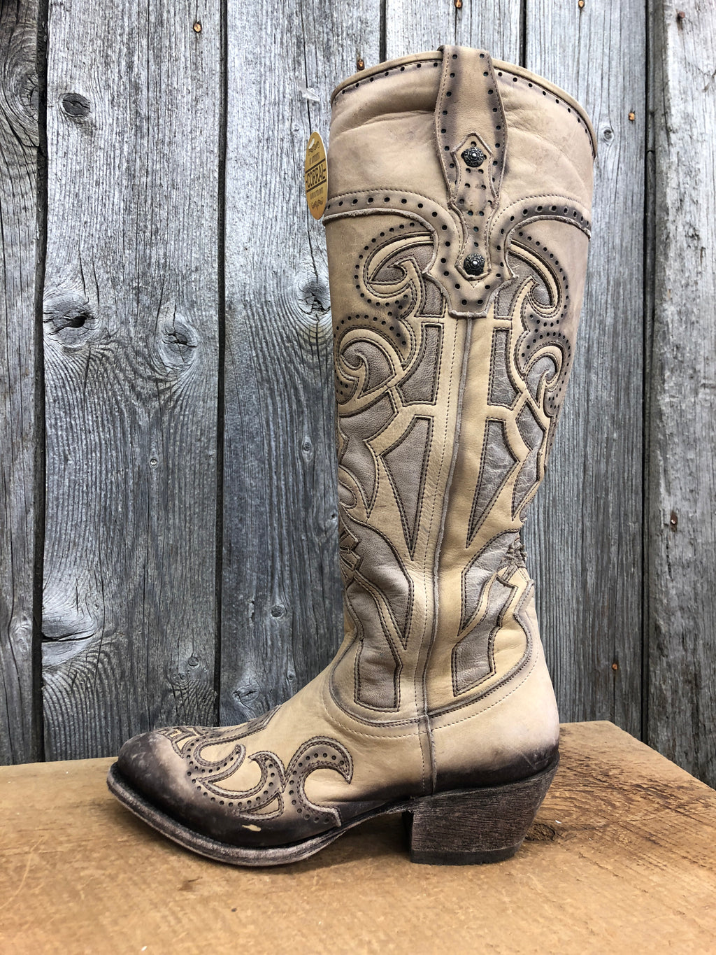 G1446 Corral Beige Laser Cutout & Embroidery Ladies Boots