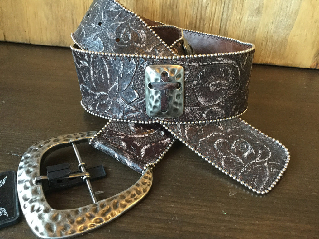 Angel Ranch A2064 Brown With Crosses And Beaded Edge Ladies Belt
