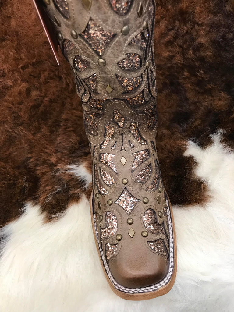 C3275 Corral Orix Glittered Inlay & Studs Square Toe Ladies Boots