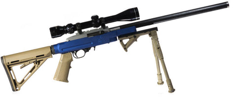 Assembled rifle with blue PMACA 10/22 chassis + stock + bipod
