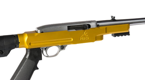 Assembled rifle with gold PMACA 10/22 chassis + stock + grip