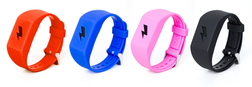 Pavlok band availability in multiple colors - Red., Blue, Pink, Black.