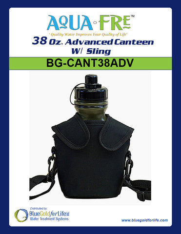 38 Oz. Advanced Canteen W/ Sling - Blue Gold For Life Inc